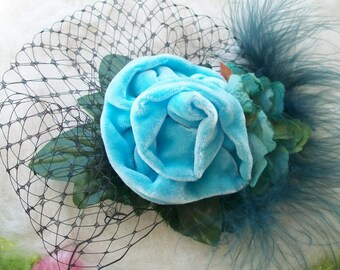 Large Silk Velvet Rose Hair Clip Turquoise Blue Velvet Rose and Feather Hair Clip Velvet Flowers Green Leaves Big Clip Large Hair Piece