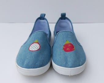 Womens Slip On Skater Shoes, Dragonfruit Shoes, Hand Painted Shoes