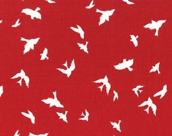 Fabric by the Yard- Flight in Red-Christmas at Brambleberry Ridge by Violet Craft for Micheal Miller