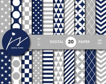 Navy blue and gray digital paper, Scrapbooking paper, Digital paper pack, Digital backgrounds, Printable paper, Commercial use, MI-604