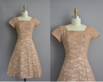 Norman Original 50s brown lace vintage party dress. vintage 1950s dress