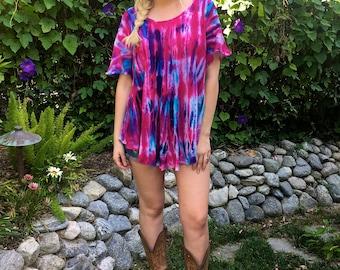 Cotton Gauze Top, Tie Dye Top, Boho Tops, Summer Tops, Womens Cotton Gauze Top, Fuchsia, Purple & Blues, L/XL or 2X/3X