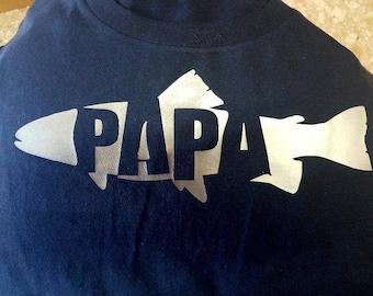 papa fish shirt with silver vinyl