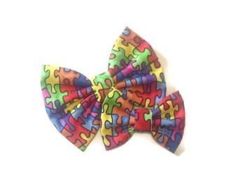 Autism Awareness Bow | Benefits Charity | Fabric Bow | Handmade Hair Bow | Hair Clip | Headband