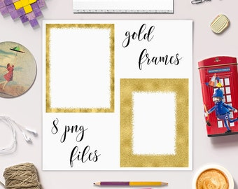 GOLDEN MEMORY, Gold Hand Painted Photo Frames Clip Art, Foil And Glitter Frames, Gold Picture Frame, Gold Borders, Commercial Use, BUY7FOR10