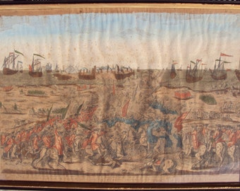 1762 hand painted French Engraving