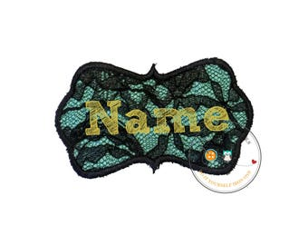 Black lace with teal iron on name patch, personalized embroidered iron on name label, lacy monogram patch,  Personalize monogram label