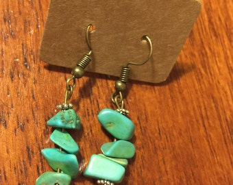 Handcrafted turquoise rock earrings