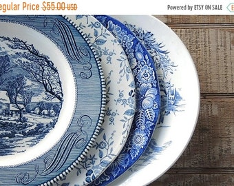 ON SALE Mismatched Blue and White Dinner Plates for Weddings Set of 4 English Blue Transferware English China Rustic Replacement China & Mismatched plates | Etsy