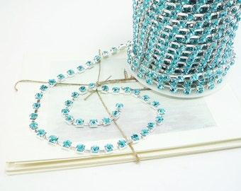 6mm Silver Rhinestone Chain in Aquamarine Blue Crystal 1 Foot Qty