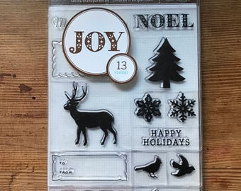 Martha Stewart Christmas clear stamp set JOY  NOEL ready for mounting