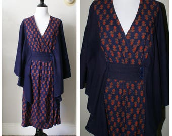 Vintage 1970s London Navy Blue Dress