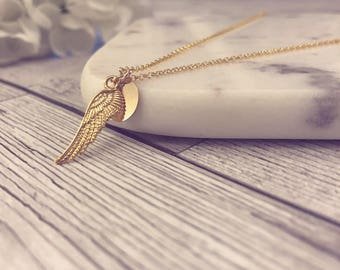 Sterling Silver, 18k Rose Gold Plated or 24k Gold Plated Double Sided Angel Wing Necklace - Option to add a Handstamped Disc