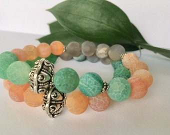 Green/Orange/Grey agate Matte with Sterling silver findings 10mm beads