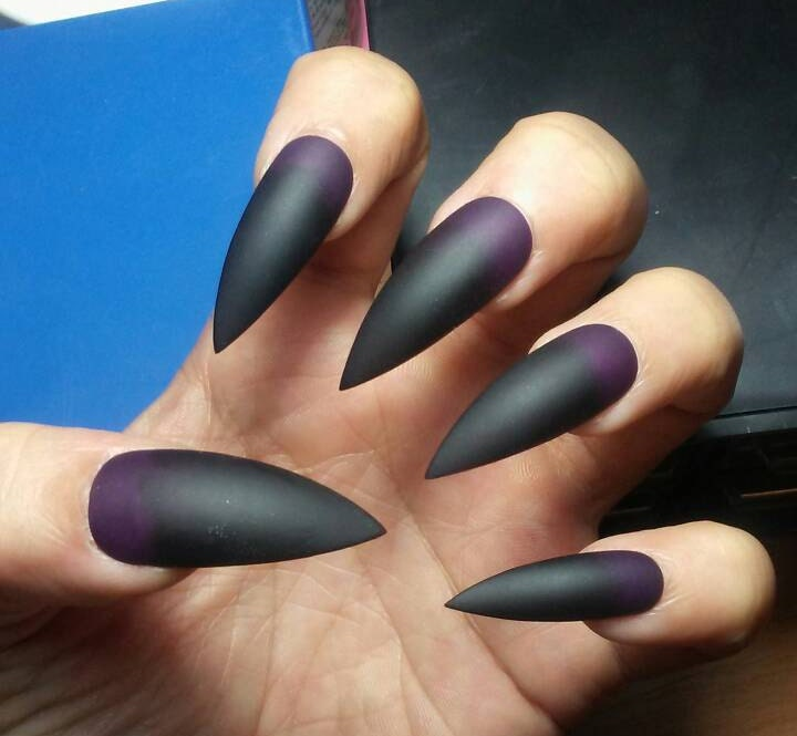Matte Black & Purple Stiletto Nails Gothic Press on Nails