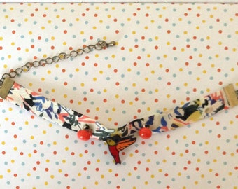 Fabric bracelet and charms birds