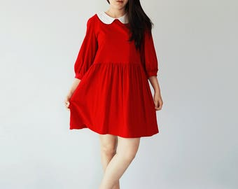 Bishop sleeves peter pan collar cotton knit smock dress, babydoll dress, sun dress, Loose style