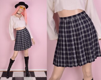 80s Navy and White Plaid Pleated Skirt/ US 4P/ 1980s