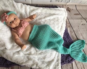 Baby Mermaid Tail - Newborn Mermaid Tail - Baby Mermaid Costume - Baby Mermaid Outfit - Mermaid Outfit Baby - Baby Photo Prop - Baby Shower
