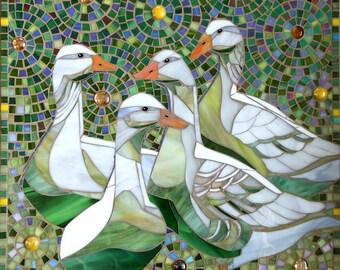 Mosaic Geese Card - Duck Card Greetings Card - Goose Card - Bird Lover Card - Geese Print - Geese Art - Bird Art - Birthday Card - Art Print
