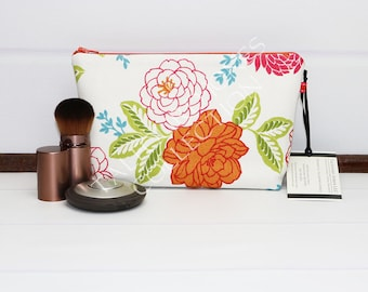 Small Makeup Pouch - Travel Makeup Bag - Floral Cosmetic Bag - Cosmetic Pouch - Fabric Makeup Case - Waverly Cheri - Gift for Her