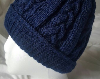 Cable Knit Slouchy Hat - Navy