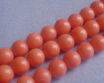 gemstone bamboo coral pink/peach round beads 5.5-6 mm / 7.5 inch