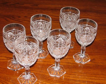 Vintage Heavy Cut Crystal Wine Glass Set of (6) From Germany