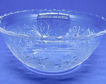 Early American Patterned Glass with Flower and Leaf Design and  Scalloped Edge Bowl - Pretty Patterned Glass Bowl - EAPG Bowl