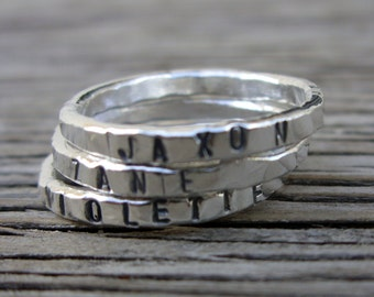 Stacking name ring ONE Personalized womens stackable ring, hand stamped, Mothers day gift jewelry girlfriend Mothers ring