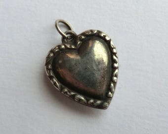 Antique Sterling Heart Charm  Scroll Border Could Be Engraved