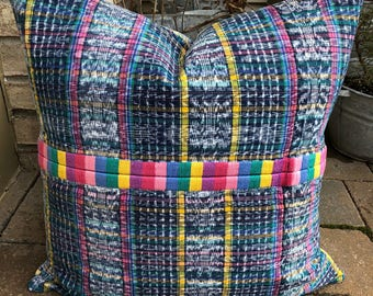 SALE !!!Vintage Guatemalan Corte embroidered  Randa pillow cover