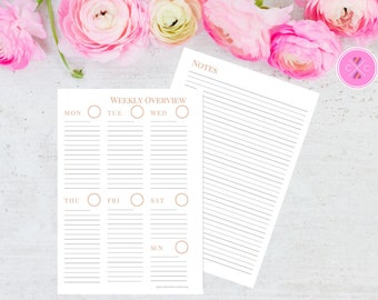 Peach Pink Printable Week on One Page with Notes Planner Insert for A5 Filofax and Large Kikki K - Instant Downloadable Weekly Planner