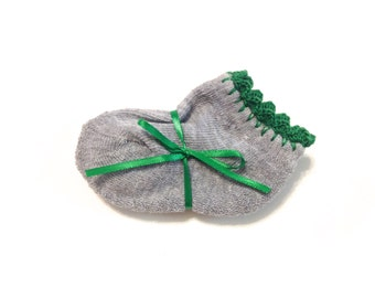 Infant Girl Socks With Emerald Green Crocheted Shell Stitch-Size 0-6 Months