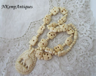 Elephant necklace bone