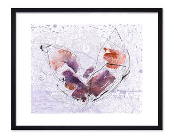 Beijing Map - Map of Beijing - Map Art - Watercolor Prints - Watercolor Abstract Paintings - Purple Butterfly - Art Prints - Home Decor