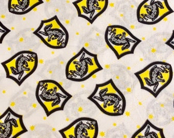 Harry Potter Hufflepuff House Crest Fabric By the Yard