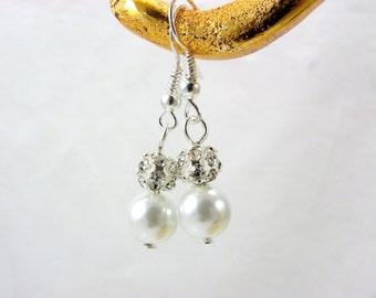 6 Pairs Bridesmaid Earrings, 6 Pearl and Rhinestone drop Earrings, Bridesmaid Pearl Earrings, Pearl and Crystal Earrings, Bridesmaid Gifts