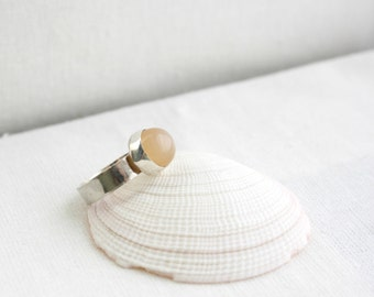 Peach Agate Silver Ring, Statement Ring
