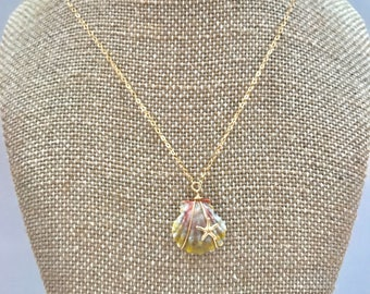 sunrise shell with starfish necklace