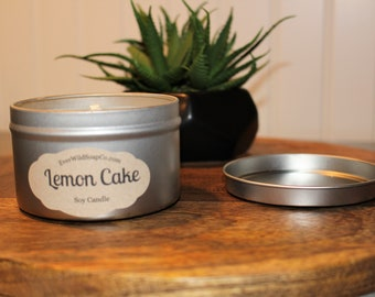 Lemon Cake Candle, 8 oz Tin, Container Candle, Soy Wax Candle, Scented Candle, Home Decor Candle