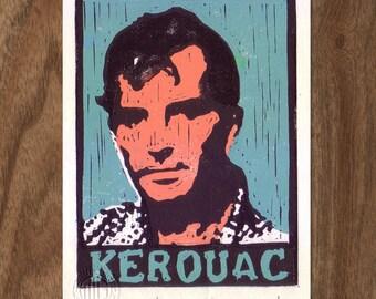 Jack Kerouac Linocut Handpulled Print