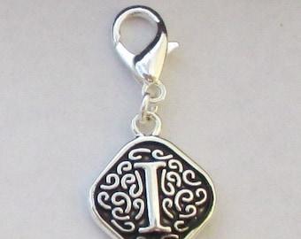 Vintage  Letter I  Dangle  Lobster Claw for Necklace - Bracelets - Key Chains