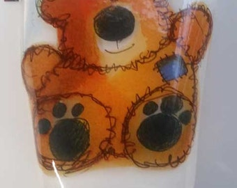 Fused Glass Night Light - Teddy Bear
