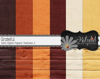 Fall Digital Paper Autumn Grateful Digital 12x12 Textures 2 Seasonal Papers and Backgrounds for INSTANT DOWNLOAD