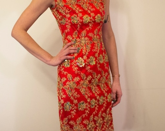 Form Fitting Oriental Style Embroidered Dress