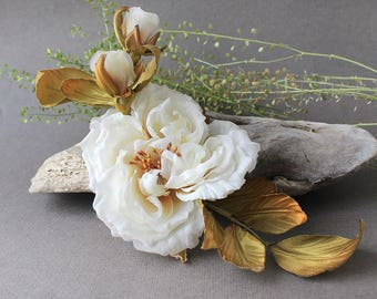 Silk Flower Brooch, Rose Flower, Flower Brooch, Flower Hair Clip, Silk Rose Brooch, Silk Flowers, Artificial Roses, Hairclip Flower