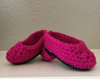 Ready to Ship High Heel Shoe Baby Booties Fuschia and Black Slippers Doll Shoes Size 0-6 Mos Handmade Crocheted New Night and Day Crochet