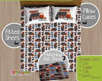 Garbage Truck Custom Fitted and Flat Sheets - Kids Bed Sheets - Customized Children Bedding - Kids Pillowcase - Garbage Truck Bedroom Decor