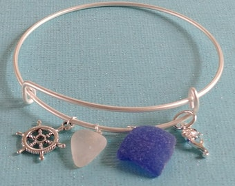 Maine Sea Glass Charm Bracelet